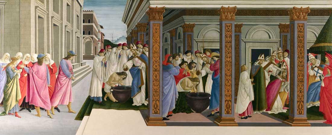 Botticelli. Cuatro escenas de la infancia de Zenobio, hacia 1500. National Gallery, Londres