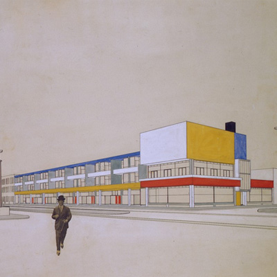 Theo van Doesburg. Perspective with final colour design, Shopping arcade with bar-restaurant, Laan van Meerdervoort, The Hague, 1924. Collection Het Nieuwe Instituut/ Collection Van Eesteren-Fluck & Van Lohuizen Foundation, Amsterdam
