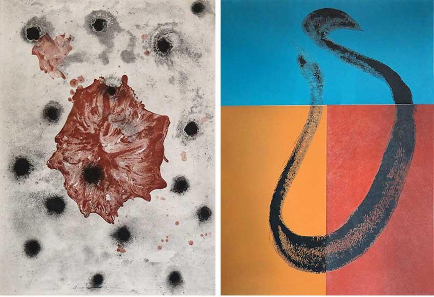 José Manuel Broto. Vestigia vitae V, 1991 (aguatinta) y Jazz Trinidad II, 1998 (litografía en color).