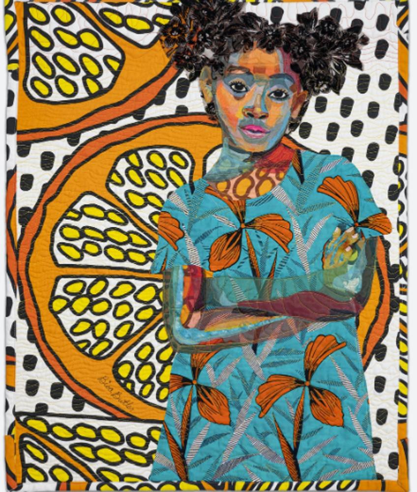Bisa Butler. Anaya with Oranges, 2017
