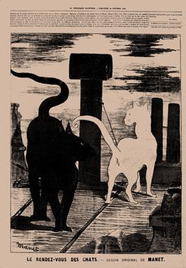 Édouard Manet. El encuentro de los gatos, 1869. © Colección David E. Weisman y Jacqueline E. Michel / Stéphane Pons