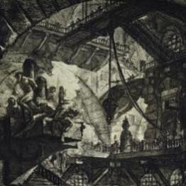 Giovanni-Battista de Piranesi. Reos sobre plataforma suspendida (Cárcel). Carceri d'Invenzione (hacia 1761). Fondazione Giorgio Cini, Venecia