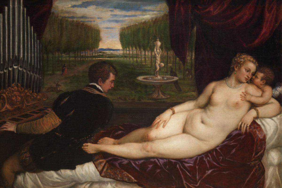 Tziano. Venus recreándose en la música, 1555. Museo Nacional del Prado