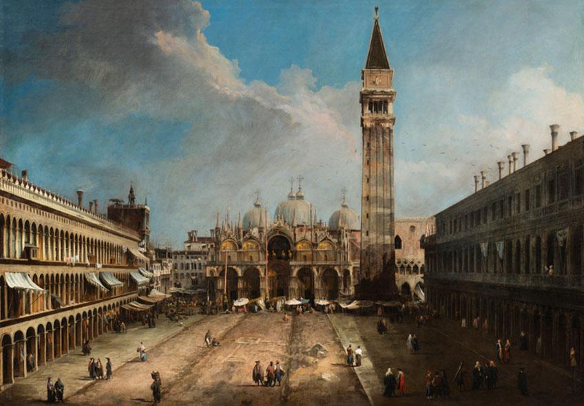Canaletto. La Plaza de San Marcos en Venecia, 1723-1724. Museo Nacional Thyssen-Bornemisza. Foto general después de la restauración: Hélène Desplechin