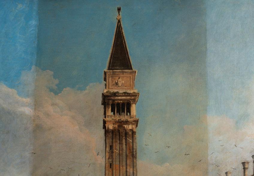 Canaletto. La Plaza de San Marcos en Venecia, 1723-1724. Museo Nacional Thyssen-Bornemisza. Proceso de limpieza. Fotografía: Hélène Desplechin