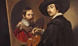 Nicolas Régnier. Autorretrato ante el caballete o retrato  doble de Nicolas Régnier y   Vincenzo Giustiniani,  hacia 1623-1625. Cambridge (MA), Harvard Art  Museums/Fogg Museum.   Donación de Mrs. Eric Schroeder