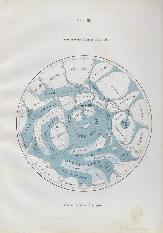 Giovanni Schiaparelli. Hemisferio austral de Marte, 1877-1878. © Fondo G. V. Schiaparelli