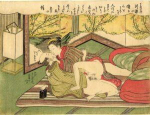 Suzuki Harunobu (1724-1770). Jovenes amantes