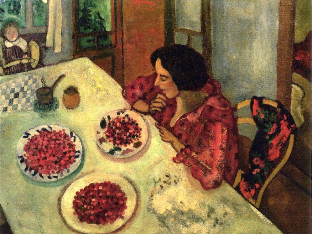 Chagall. Fresas o Bella e Ida en la mesa, 1916. Colección particular Foto © Ewald Graber © Marc Chagall, Vegap, Bilbao 2018