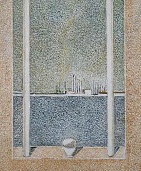 Cristino de Vera. Taza de luz, dos velas largas y cementerio, 1997. Colección particular