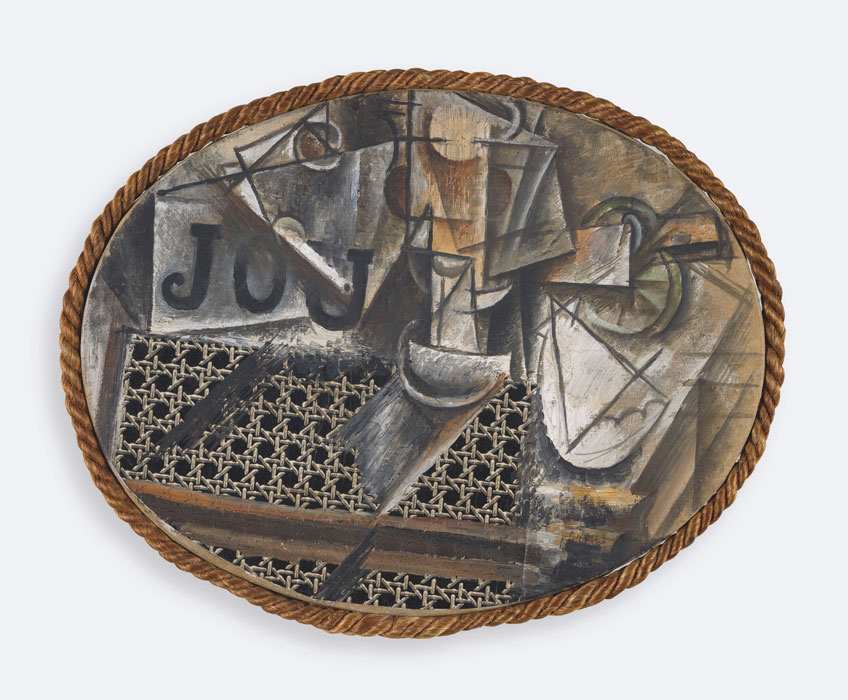 Pablo Picasso. Naturaleza muerta con silla de rejilla, hacia 1912. Musée National Picasso-Paris © RMN-Grand Palais (Musée national Picasso-Paris) / M.Rabeau © Succession Picasso / 2019, ProLitteris, Zurich