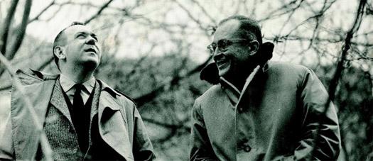 Fernando Zóbel y Gustavo Torner bajo el puente de San Pablo, Cuenca, c 1966