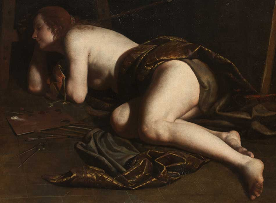 Atribuido a Artemisia Gentileschi. Alegoría de la pintura, hacia 1630-1640. Musée de Tessé, Le Mans