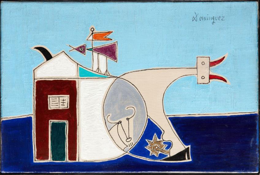 Óscar Domínguez. Composición con casas y animales, 1949, Cortesía Galería Guillermo de Osma