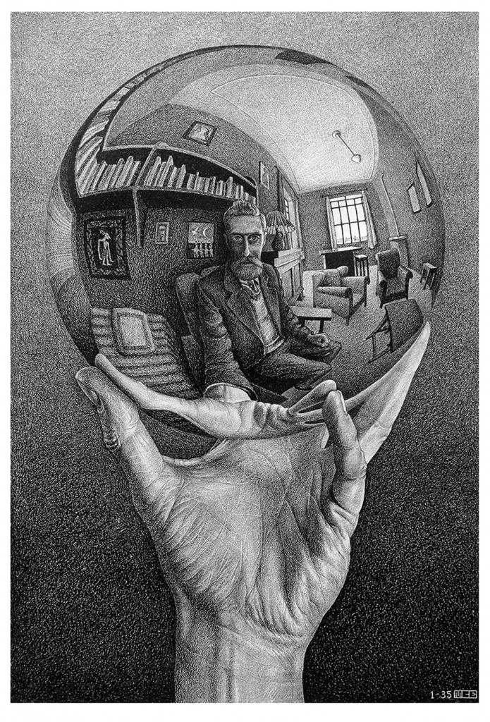 Maurits Cornelis Escher. Mano con espejo reflectante, 1935. The Escher Foundation Collection. © 2017 The M.C. Escher Company The Netherlands