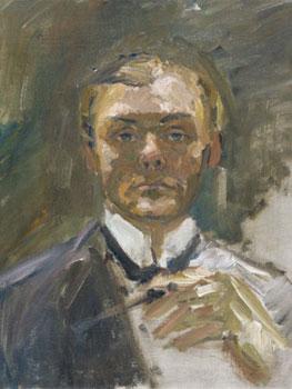 Max Beckmann. Autorretrato con la mano levantada, 1908. Museo Nacional Thyssen-Bornemisza