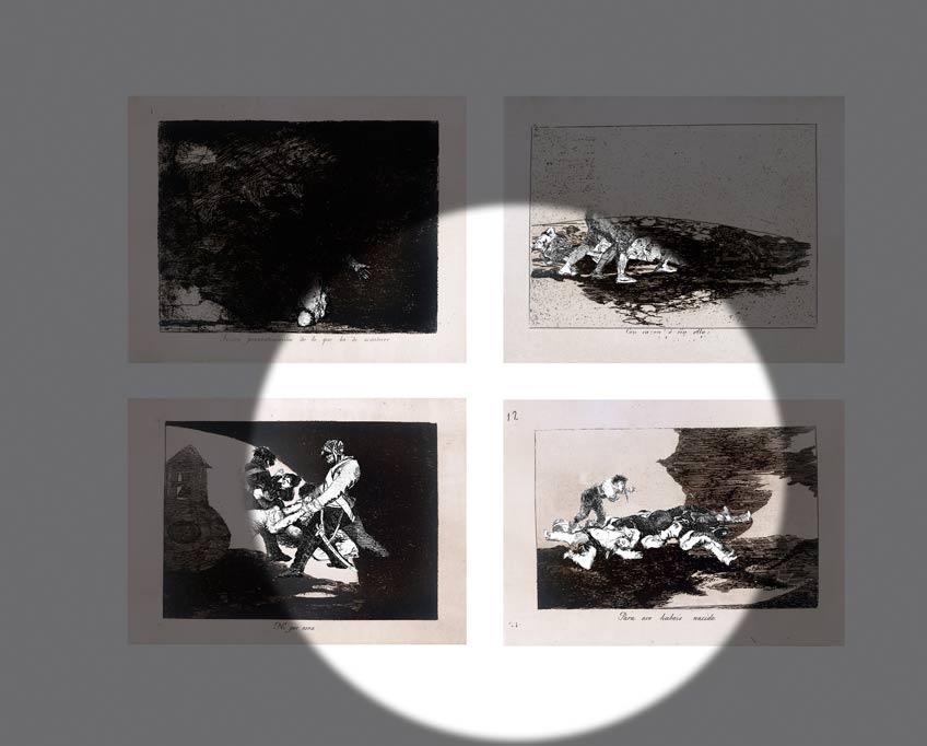 Videoinstalación de la artista iraní Farideh Lashai inspirada en los Desastres de la guerra de Goya en el Museo del Prado