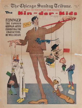 Portada de The Chicago Sunday Tribune con imagen satírica de Lyonel Feininger, 29 de abril de 1906. Colección Achim Moeller, Nueva York
