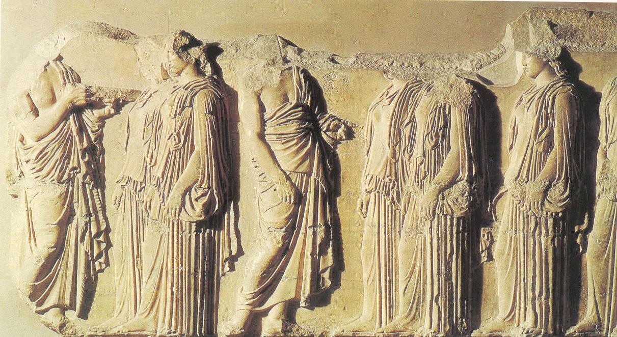Fidias: obras fundamentales de la Acrópolis. Fragmento del friso corrido de las Panatheneas