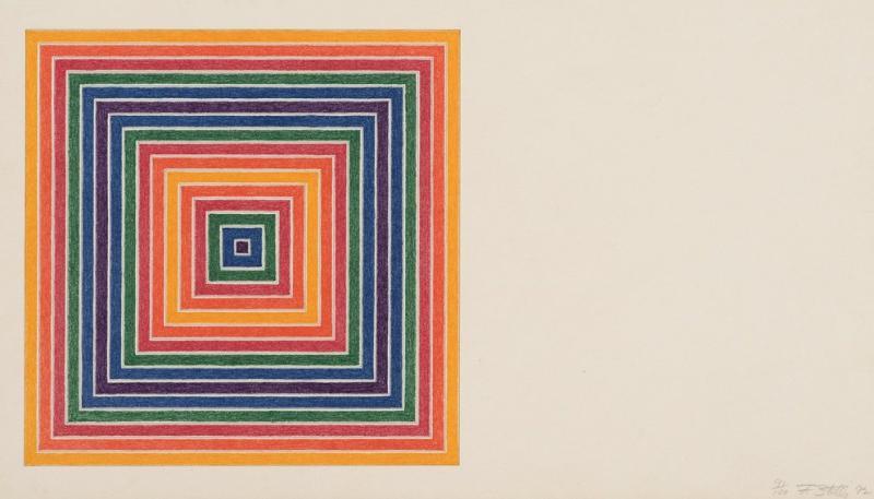 Frank Stella. Louisiana Lottery Co (Corporación de la lotería de Luisiana), de la serie Multicoloured Squares I (Cuadrados multicolores I), 1972. Museo de Bellas Artes de Bilbao