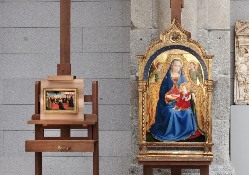Virgen con el Niño y dos ángeles o Madonna de la granada y Funeral de San Antonio abad de Fra Angélico. Foto © Museo Nacional del Prado