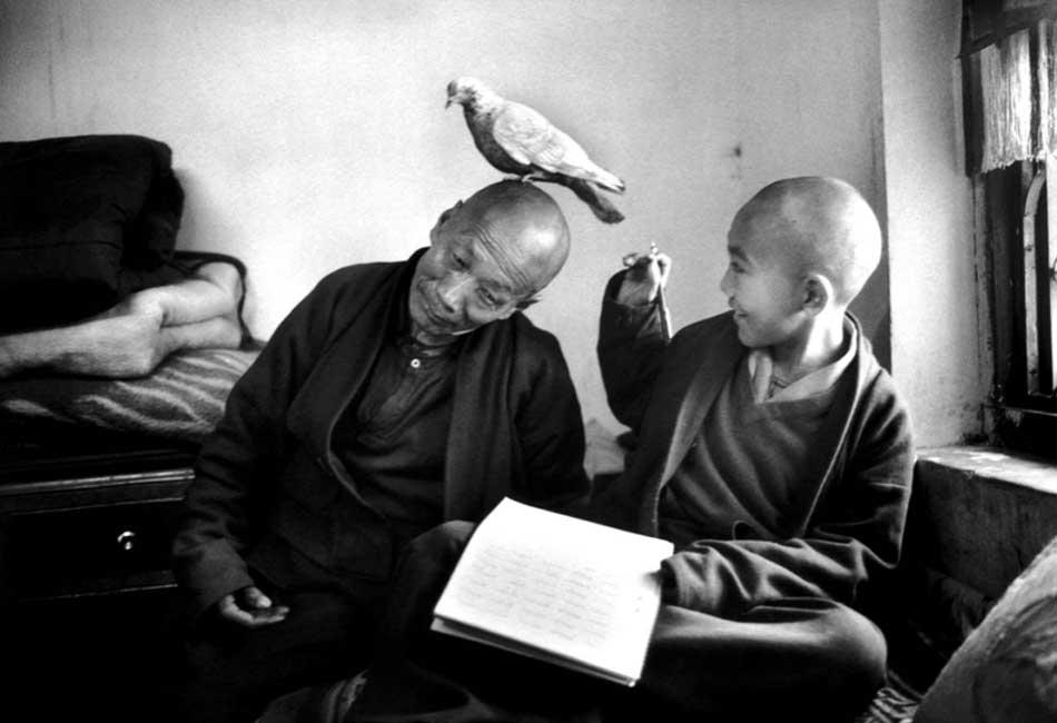 Martine Franck. Tulku Khentrul Lodro Rabsel, 12 ans, avec son tuteur Lhagyel, monastère Shechen, Bodnath, Népal, 1966 © Martine Franck / Magnum Photos