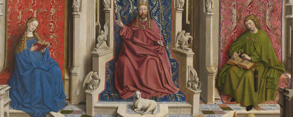Taller de Jan van Eyck. La Fuente de la Gracia (tras la restauración), 1440-1445. Museo Nacional del Prado