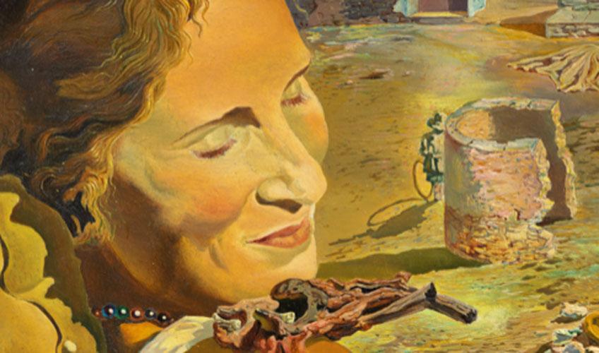 Salvador Dalí. Retrato de Gala con dos costillas de cordero en equilibrio sobre su hombro (fragmento), hacia 1934. © Salvador Dalí, Fundació Gala-Salvador Dalí, VEGAP, Barcelona, 2018
