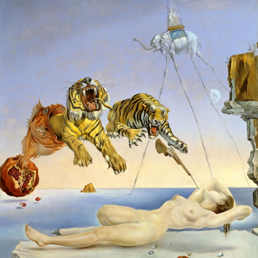 Salvador Dalí. Sueño causado por el vuelo de una abeja alrededor de una granada un segundo antes de despertar, c. 1944. Museo Nacional Thyssen-Bornemisza, Madrid. © Salvador Dalí, Fundació Gala-Salvador Dalí, VEGAP, Barcelona, 2018
