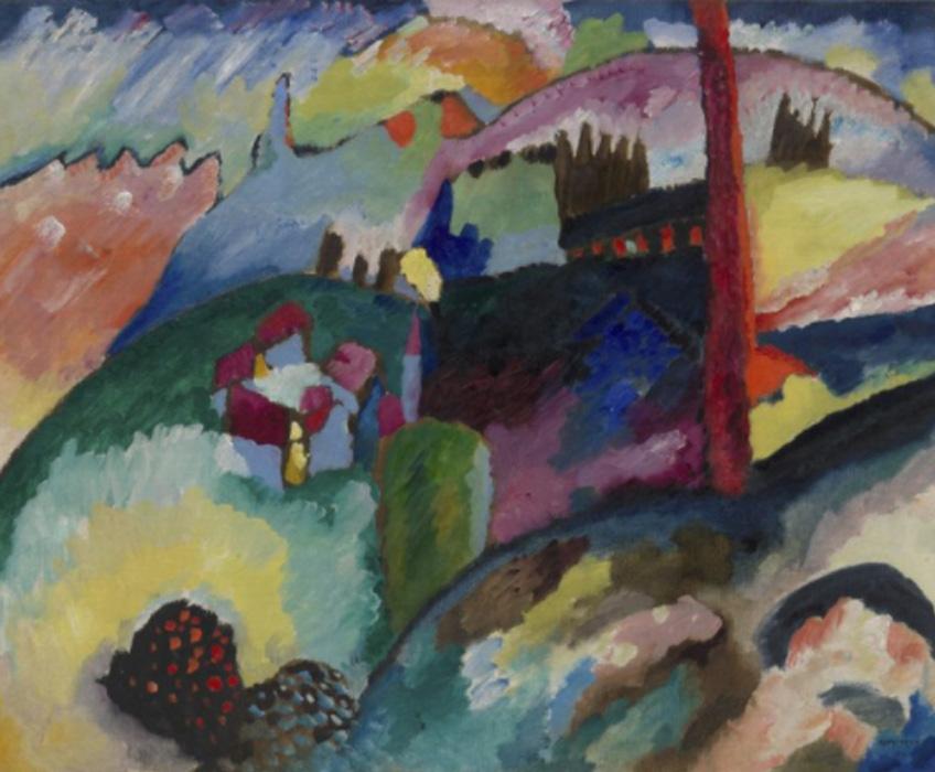 Kandinsky. Paisaje con chimenea de una fábrica, 1910. Solomon R. Guggenheim Museum, Nueva York, Colección Fundacional Solomon R. Guggenheim