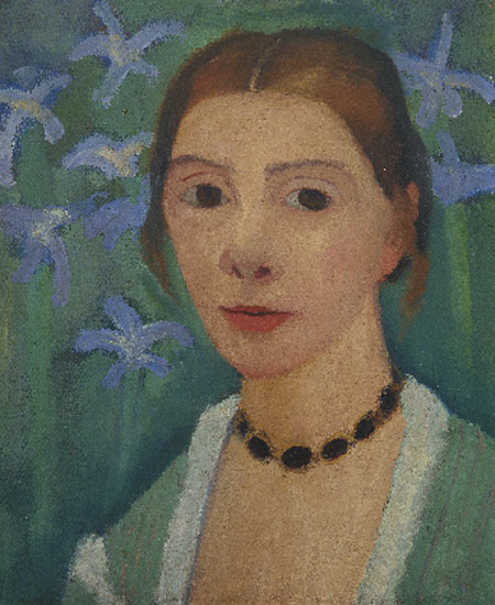 Paula Modersohn-Becker. Autorretrato sobre fondo verde con lirios azules 1900-1907. Kunsthalle Bremen – Der Kunstverein in Bremen