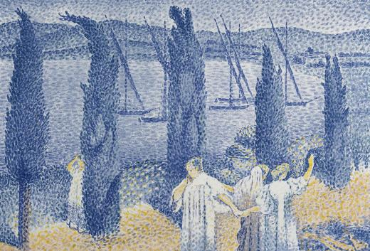 Henri-Edmond Cross. El paseo o Los cipreses (La Promenade ou Les cyprès), 1897. Colección particular