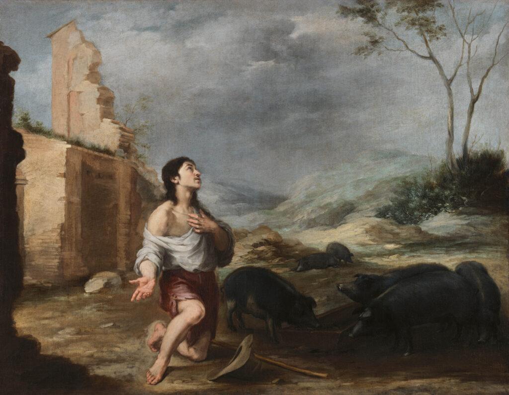 Murillo. El hijo pródigo abandonado (El hijo pródigo apacienta a los cerdos) , hacia 1660-1665. National Gallery of Ireland