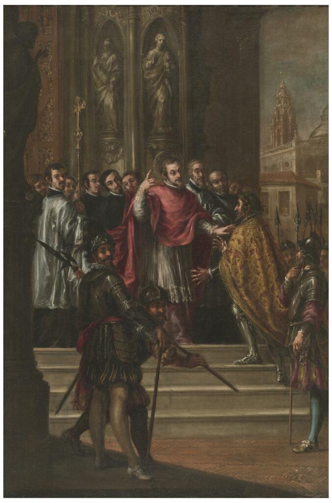 Valdés Leal. San Ambrosio niega al emperador Teodosio la entrada al templo, hacia 1673. Museo Nacional del Prado