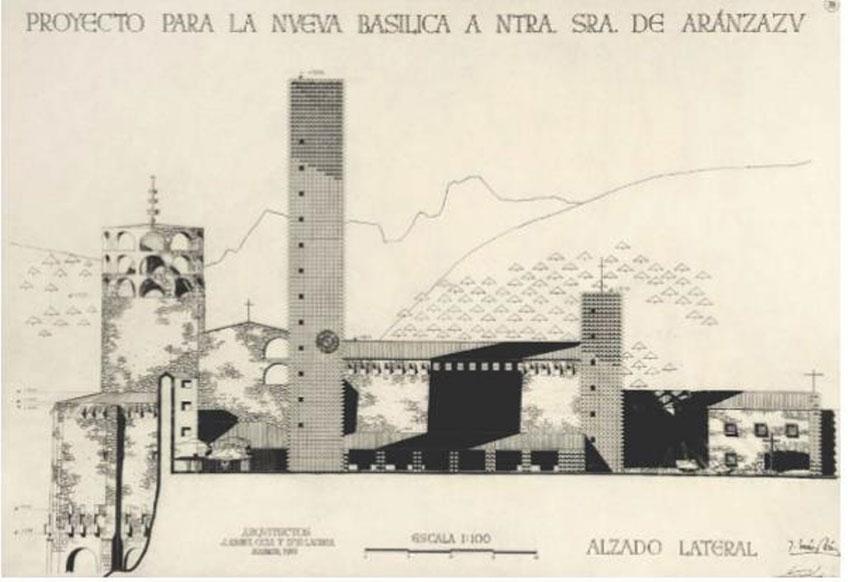 Francisco Javier Sáenz de Oíza y Luis Laorga Gutiérrez. Aránzazu, 78. Alzado lateral, 1951. Colección particular.