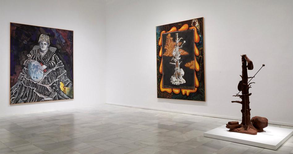 """Vista de sala de la exposición """"Jörg Immendorf. La tarea del pintor"""" en el Museo Reina Sofía"""