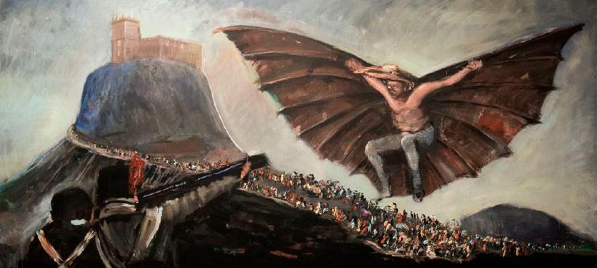 Enrique Marty. Pintura para el muro inspirada en Modo de volar de Goya, 2014