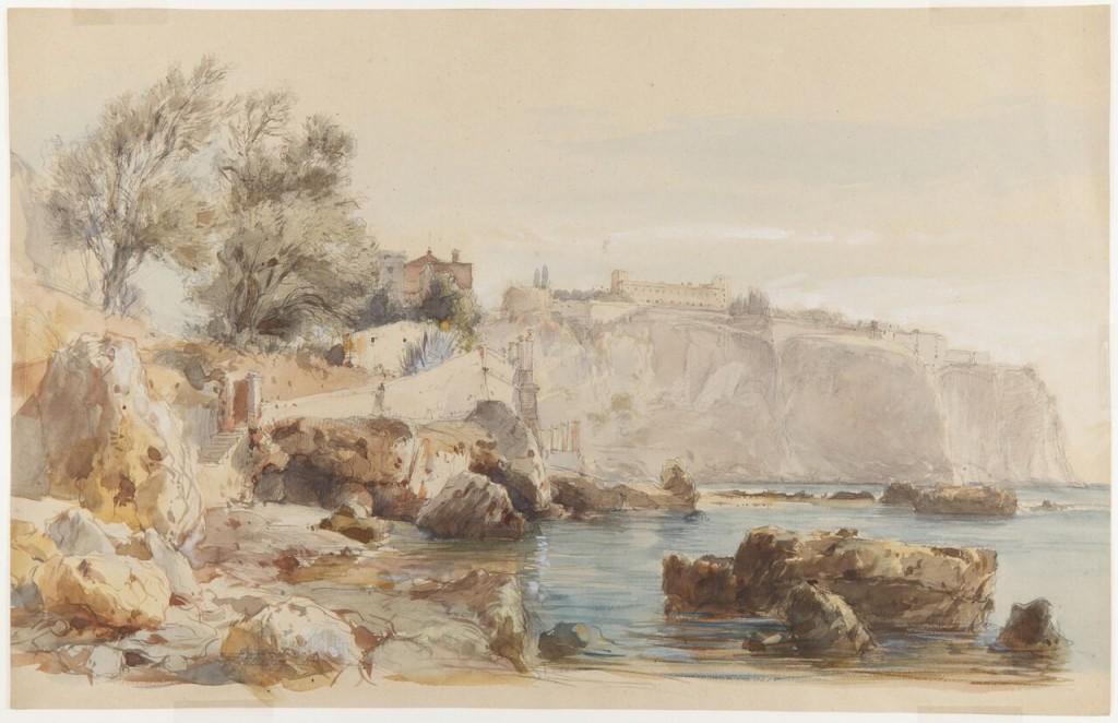 Eugenio Lucas  Velázquez.  Vista de  Mónaco, 1868. ©Museo Lázaro Galdiano