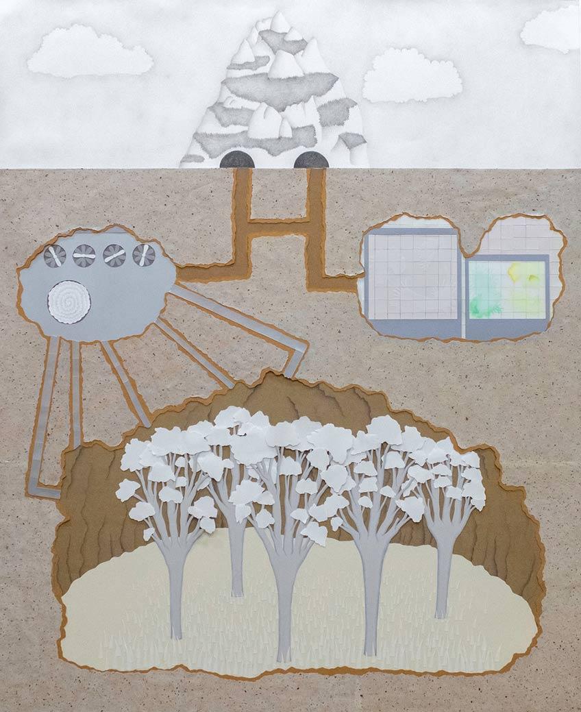 Guillermo Peñalver. Dentro de la montaña,  2020 Papel (recortado), grafito y lápiz de color sobre papel 120x100. Galería Gema Llamazares