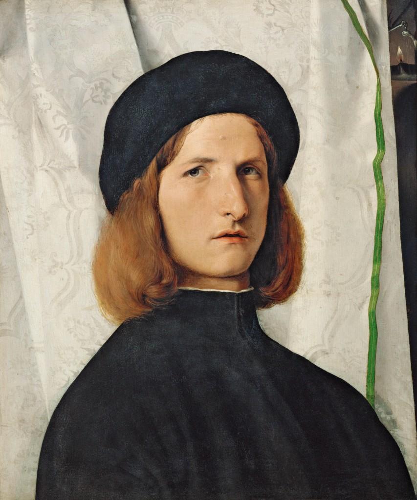 Lorenzo Lotto. Retrato de hombre con lámpara, hacia 1508. Kunsthistorisches Museum, Gemäldegalerie, Viena