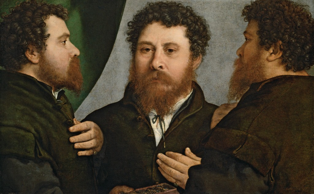 Lorenzo Lotto. Retrato triple de orfebre (Bartolomeo Carpan?), 1525-1535. Kunsthistorisches Museum, Gemäldegalerie, Viena