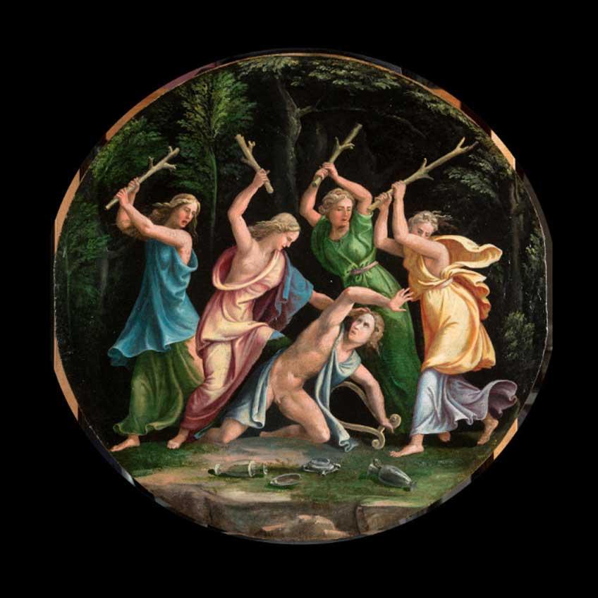 Giulio Romano y su taller. Orfeo asesinado por las bacantes. Colección privada, Turín