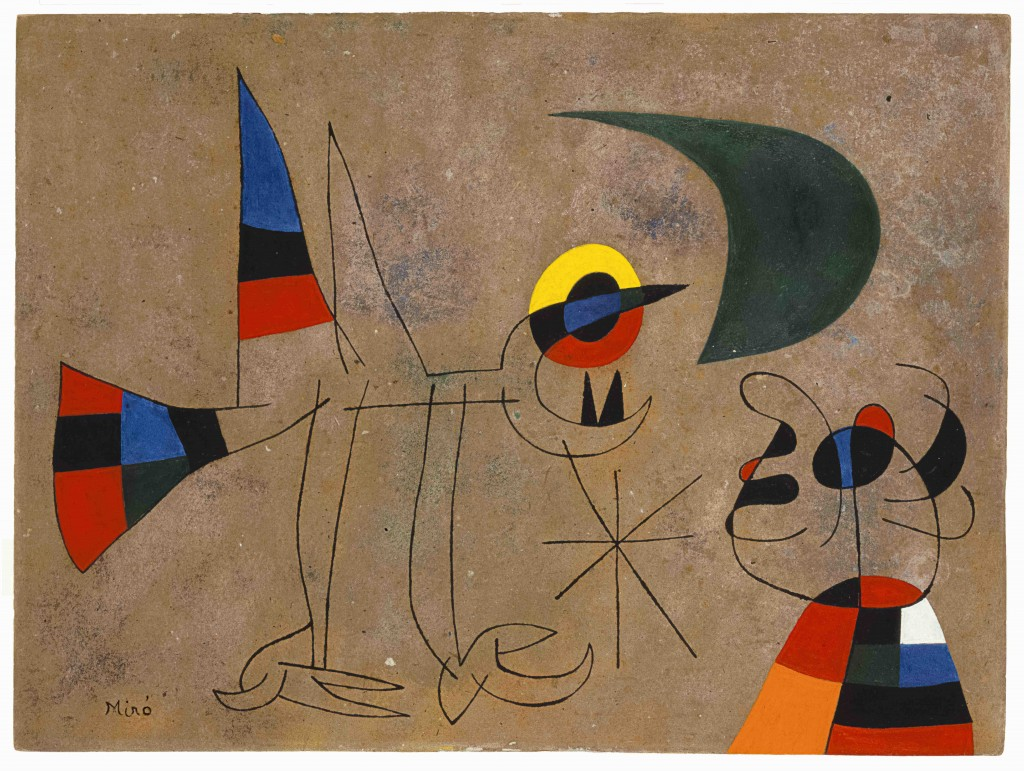 Joan Miró. Le Chant de l'oiseau à la rosée de la lune, 1955. Colección Particular en depósito temporal  © Successió Miró 2016