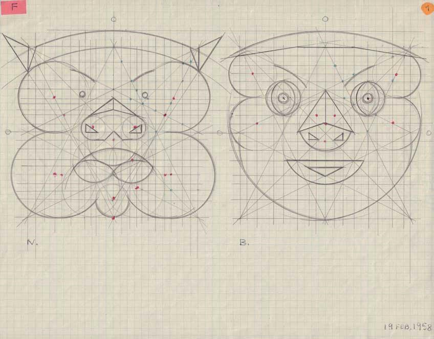 Maruja Mallo. Trazado de máscaras, 1958. Galería Guillermo de Osma.