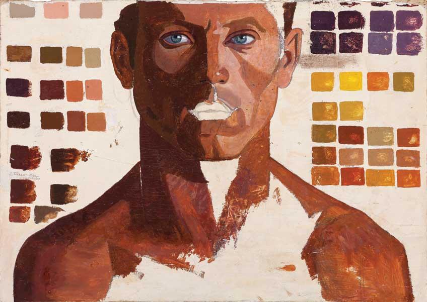 Maruja Mallo. Retrato de hombre con escala de colores. Galería Guillermo de Osma.