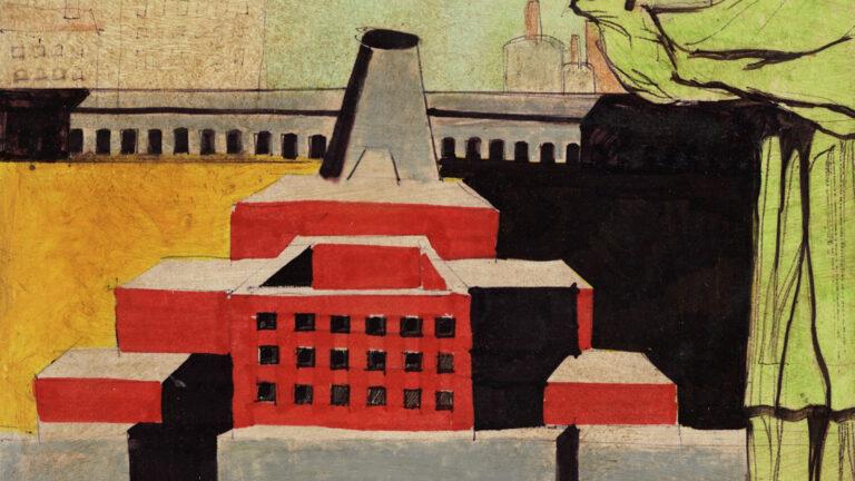 Aldo Rossi. Arquitectura con santo. Composición arquitectónica con figura humana, 1972. Collezione MAXXI Architettura. Archivio Aldo Rossi © Eredi Aldo Rossi