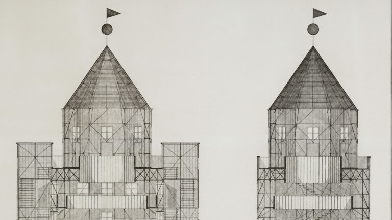 Aldo Rossi. Sección del Teatro del Mundo, 1979. MAXXI Museo nazionale delle arti del XXI secolo, Roma. Collezione MAXXI Architettura Archivio Aldo Rossi