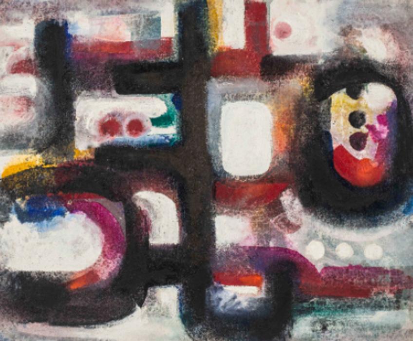 Ahmed Cherkaoui. Talisman rouge, 1967. Cortesía Mathaf Arab Museum of Modern Art, Doha