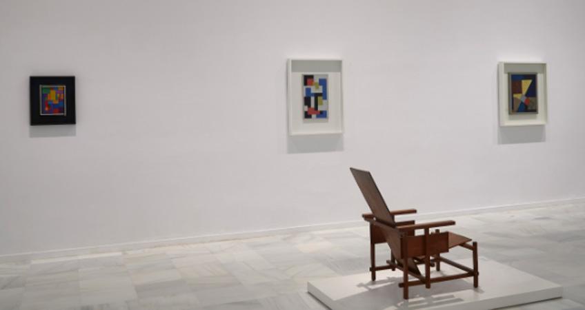 """Vista de la exposición """"Mondrian y De Stijl"""". Museo Reina Sofía"""