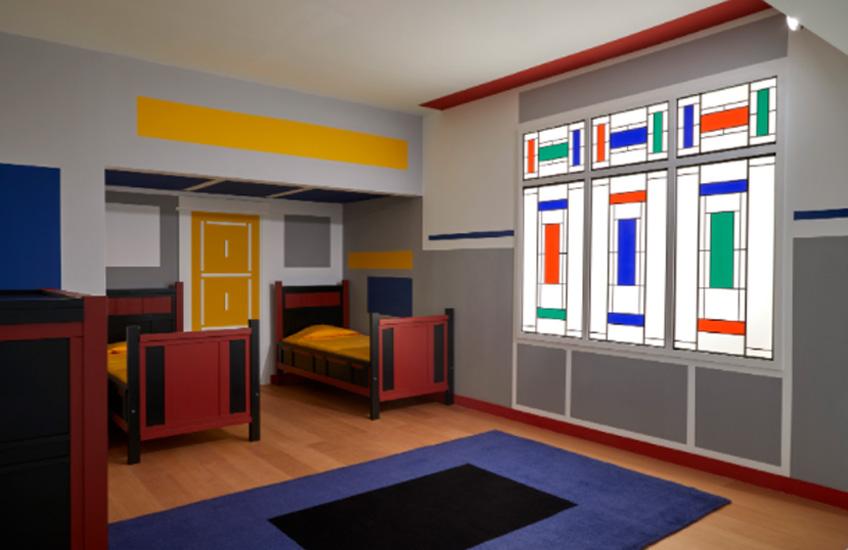 Vilmos Huszár y Pieter Jan Kristophel Klaarhamer. Dormitorio infantil, Villa Arendshoeve (reconstrucción parcial)